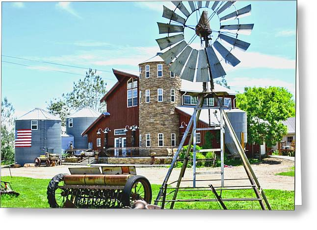 Mining Photos Greeting Cards - Farm and Windmill Greeting Card by Amy McDaniel