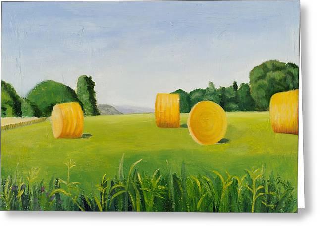Farm Bales Greeting Card by Gloria Cigolini-DePietro