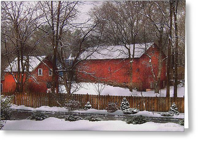 Farm - Barn - Winter In The Country  Greeting Card by Mike Savad
