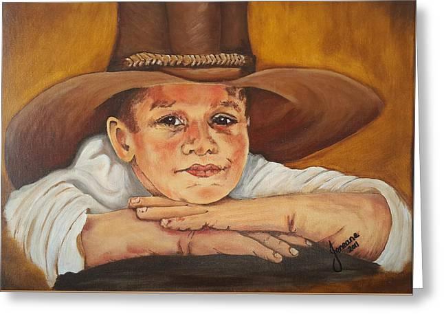 Tomboy Greeting Cards - Farm Boy Greeting Card by Jeneane Wilson
