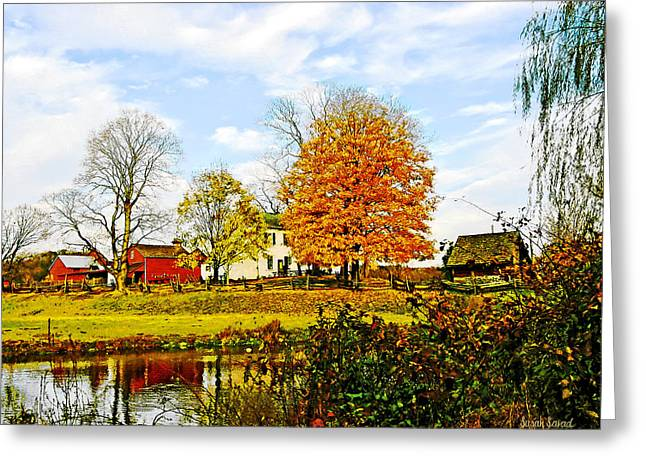Farms Greeting Cards - Farm by Pond in Autumn Greeting Card by Susan Savad