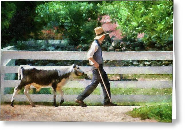 Steer Greeting Cards - Farm - Cow -The farmer and the dell  Greeting Card by Mike Savad