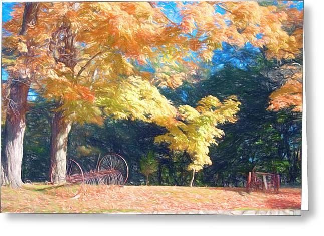 Fall Colors Greeting Cards - Farm equipment under fall colors Greeting Card by Jeff Folger