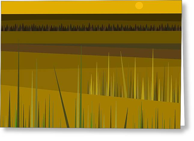 Green And Yellow Abstract Digital Greeting Cards - Farm Fields Greeting Card by Val Arie