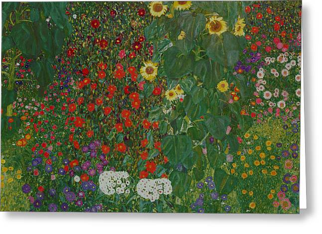 Klimt Greeting Cards - Farm Garden with Flowers Greeting Card by Gustav Klimt