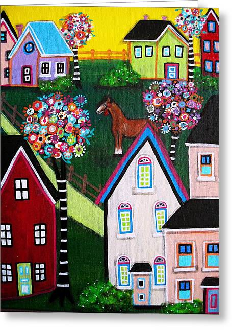 Farm Home Greeting Card by Pristine Cartera Turkus