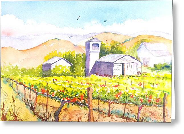 Gilroy Greeting Cards - Farm House Water Tower and Vineyard Greeting Card by Carlin Blahnik
