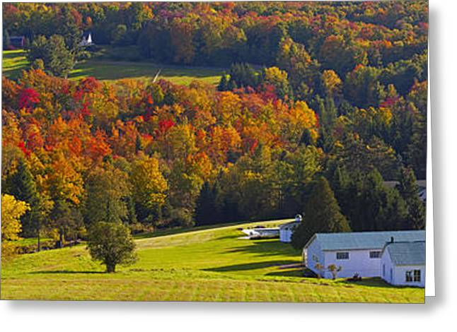 Red Roofed Barn Greeting Cards - Farm In Autumn  Knowlton, Quebec, Canada Greeting Card by David Chapman