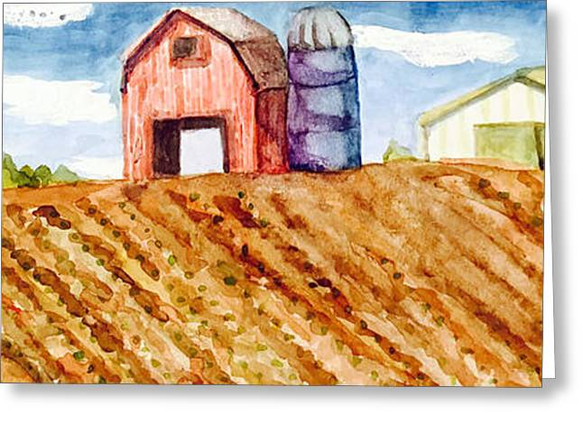 Jame Hayes Paintings Greeting Cards - Farm in Spring Greeting Card by Jame Hayes