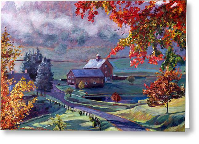 Farm In The Dell Greeting Card by David Lloyd Glover