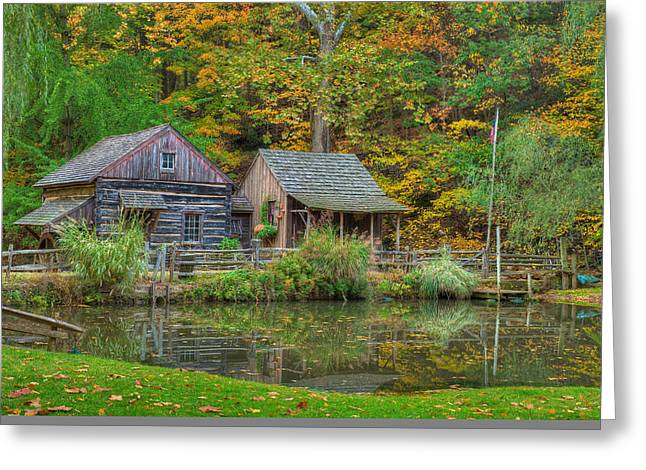 Log Cabins Greeting Cards - Farm in Woods Greeting Card by William Jobes