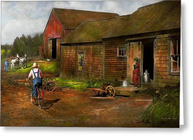 Farm - Life On The Farm 1940s Greeting Card by Mike Savad