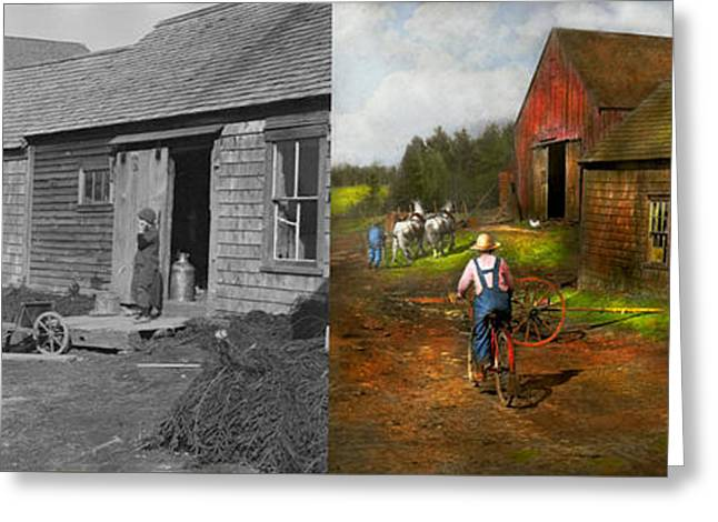 Farm - Life On The Farm 1940s - Side By Side Greeting Card by Mike Savad