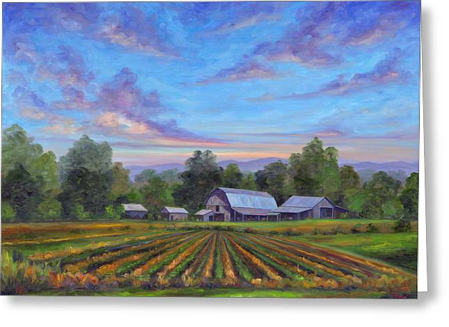 Vegetables Paintings Greeting Cards - Farm on Glenn Bridge Greeting Card by Jeff Pittman