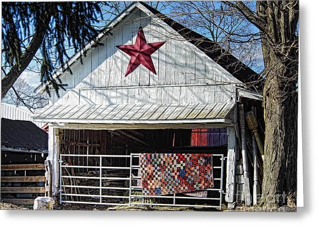 Farm Quilt Greeting Card by Timothy Flanigan