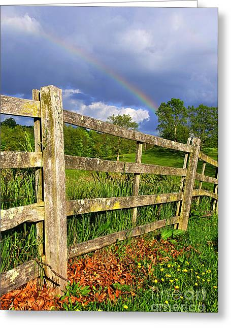 Webster County Greeting Cards - Farm Rainbow Greeting Card by Thomas R Fletcher