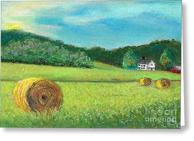 Bale Pastels Greeting Cards - Farm Scene I Greeting Card by Dianah Ngo