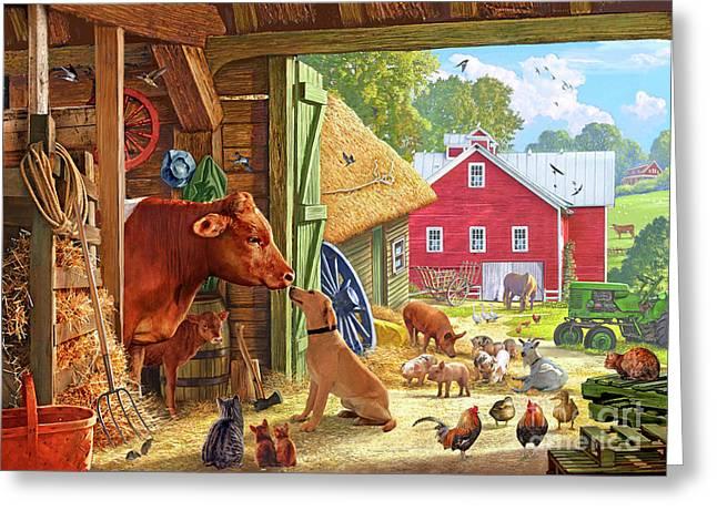 Farm Scene In America Greeting Card by Steve Crisp