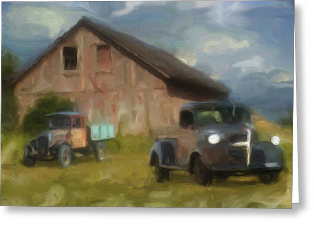 Steel. Grass Greeting Cards - Farm Scene Greeting Card by Jack Zulli