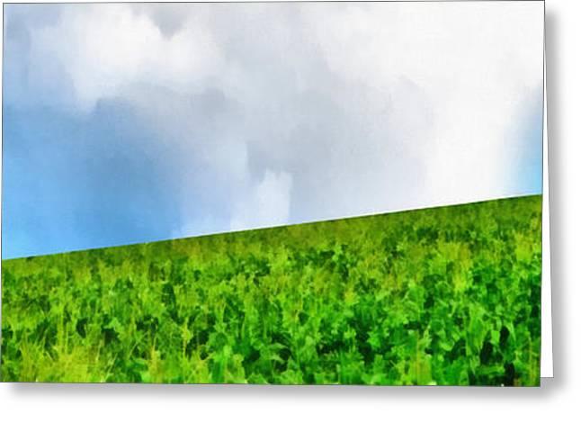 Cornfield Greeting Cards - Farm Scene Landscape Greeting Card by Edward Fielding