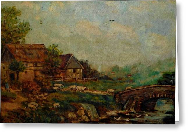 Modern Digital Art Digital Art Greeting Cards - Farm Scene Near A Small Bridge H B Greeting Card by Gert J Rheeders