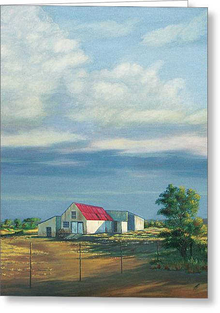 Shed Paintings Greeting Cards - Farm Shed Greeting Card by Deon West