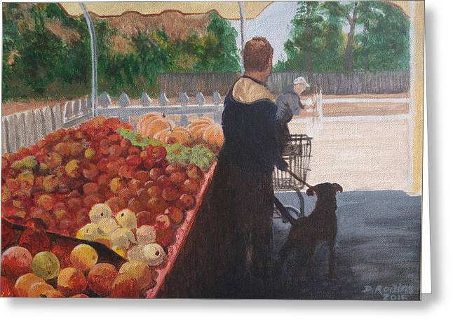 Farm Stand Dog Greeting Card by Donna Rollins