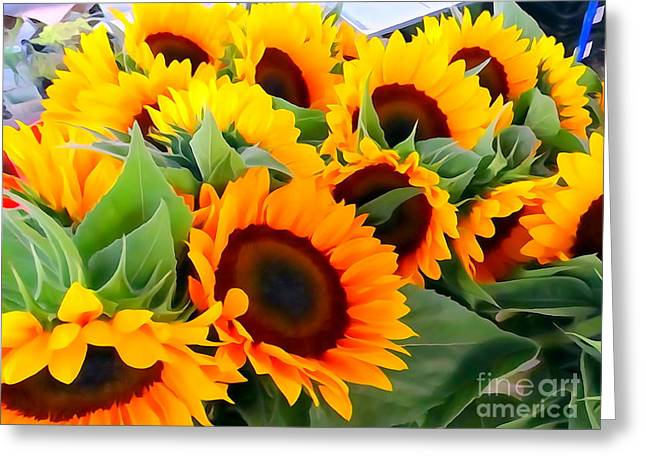 Farm Stand Greeting Cards - Farm Stand Sunflowers #8 Greeting Card by Ed Weidman