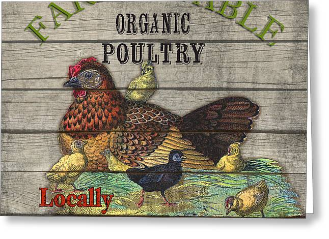 Locally Grown Digital Art Greeting Cards - Farm to Table Poultry-JP2630 Greeting Card by Jean Plout
