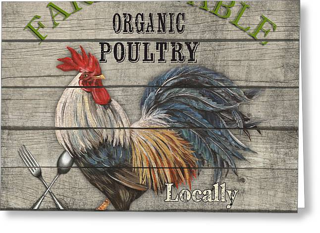Locally Grown Greeting Cards - Farm to Table Rooster-JP2628 Greeting Card by Jean Plout