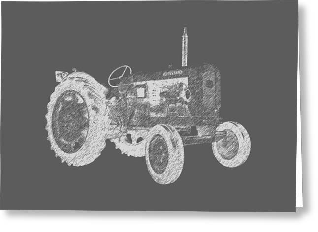 Equipment Drawings Greeting Cards - Farm Tractor Tee Greeting Card by Edward Fielding