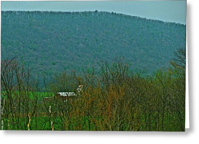 Outlook Greeting Cards - Farm Tucked Mountaintop  Greeting Card by Debra     Vatalaro