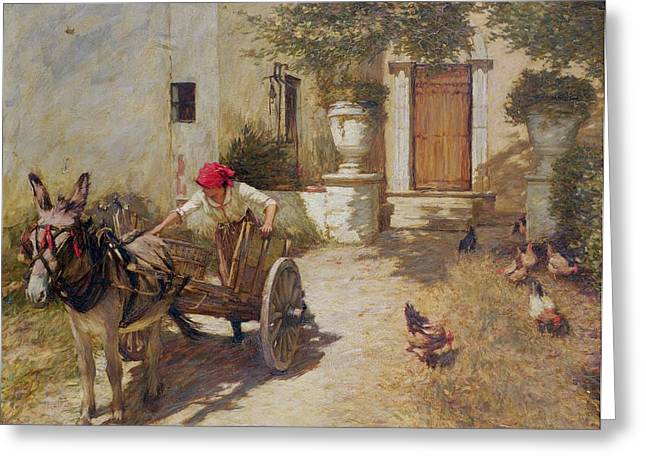 Cockerel Greeting Cards - Farm Yard Scene Greeting Card by Henry Herbert La Thangue