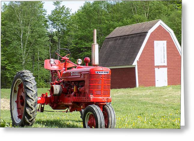 Maine Agriculture Greeting Cards - Farmall and Shed Greeting Card by William Tasker