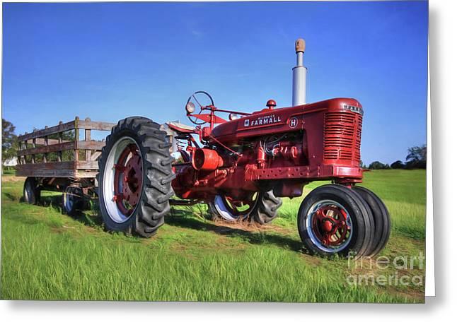Farmall With Wagon Greeting Card by Lori Deiter