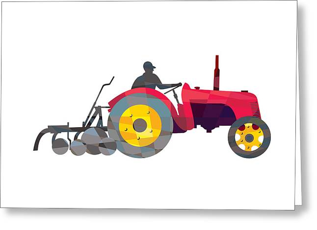 Geometric Artwork Greeting Cards - Farmer Driving Vintage Farm Tractor Low Polygon Greeting Card by Aloysius Patrimonio