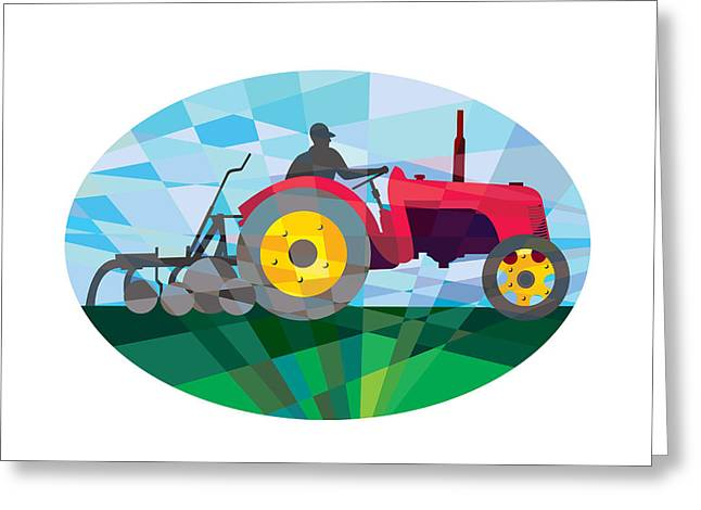 Geometric Artwork Greeting Cards - Farmer Driving Vintage Farm Tractor Oval Low Polygon Greeting Card by Aloysius Patrimonio