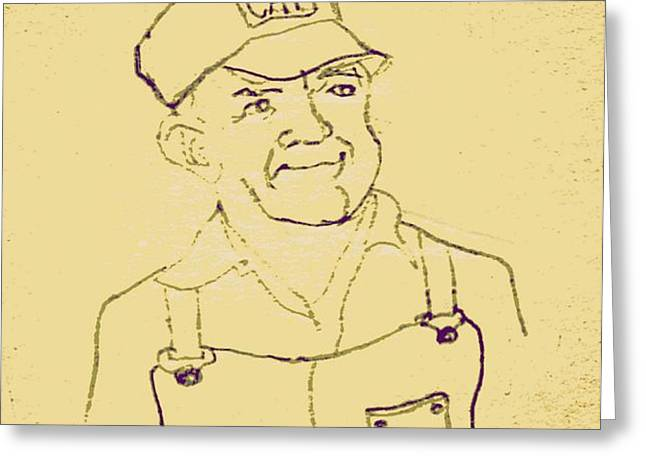 Farmer in CAT Hat Greeting Card by Sheri Parris