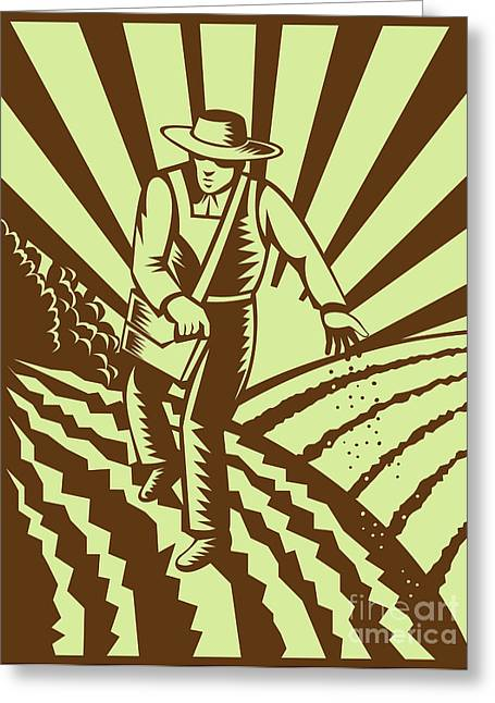 Full Body Digital Art Greeting Cards - Farmer sowing seeds  Greeting Card by Aloysius Patrimonio