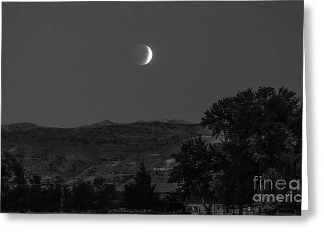 Farmer View Of Supermoon Eclipse Greeting Card by Robert Bales