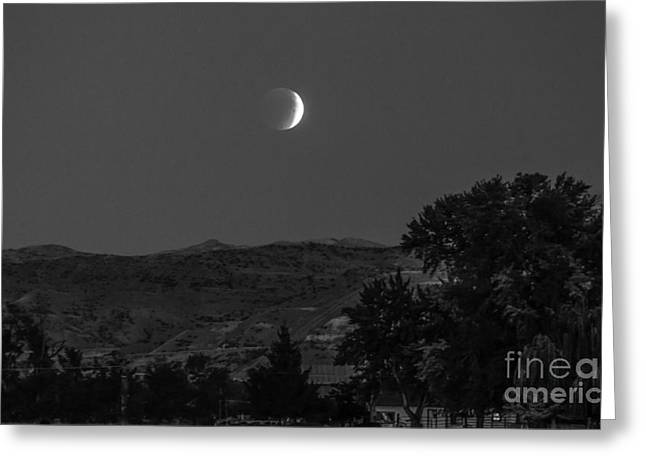 Surreal Moonrise Greeting Cards - Farmer View Of Supermoon Eclipse Greeting Card by Robert Bales