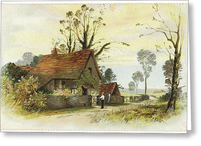Scythe Greeting Cards - Farmer With Cottage Landscape Greeting Card by Gillham Studios