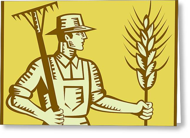 Cereal Digital Art Greeting Cards - Farmer With Rake and Wheat Woodcut Greeting Card by Aloysius Patrimonio