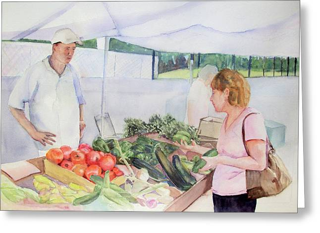 East Hampton Paintings Greeting Cards - Farmers Market Greeting Card by Katherine  Berlin