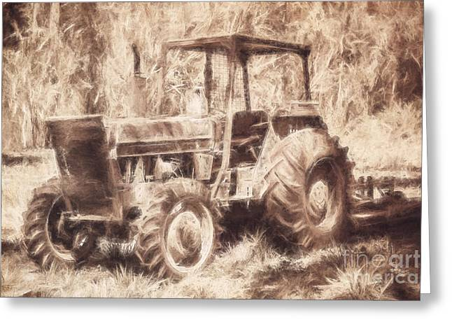 Farmers Tractor Working In Australia Farmyard Greeting Card by Jorgo Photography - Wall Art Gallery
