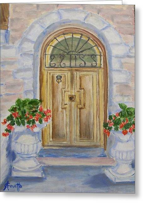French Doors Greeting Cards - Farmhouse door Greeting Card by Anne-Christine GOVETTO