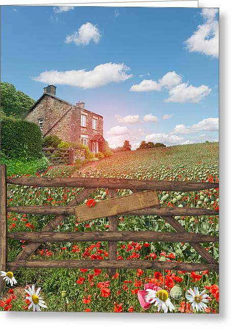 Quaint Greeting Cards - Farmhouse In Poppy Field Greeting Card by Amanda And Christopher Elwell