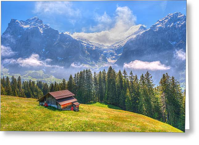 Swiss Photographs Greeting Cards - Farmhouse On Top Of the Hill Greeting Card by Susan Dost