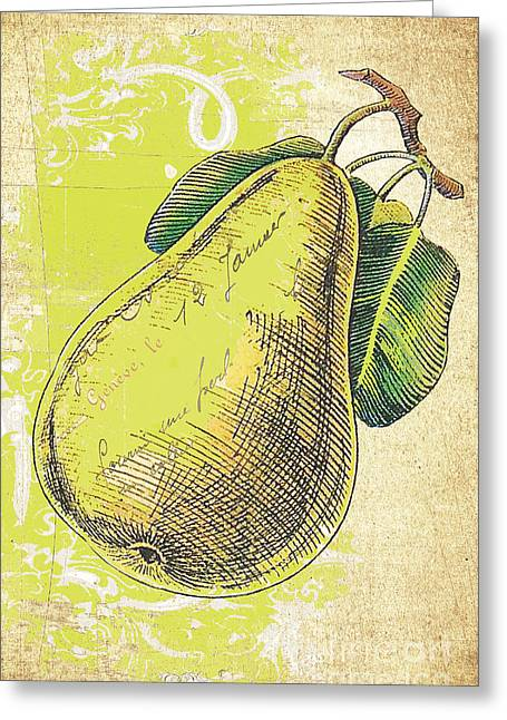 French Pears Greeting Cards - Shabby Farmhouse Pear Distressed Background Greeting Card by Anahi DeCanio