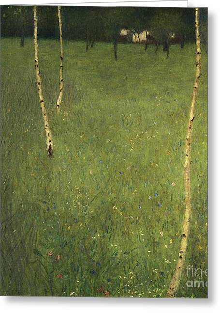 Klimt Greeting Cards - Farmhouse with Birch Trees Greeting Card by Gustav Klimt